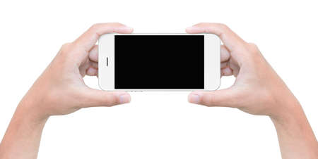 hand hold phone isolated on white with clipping path inside Imagens
