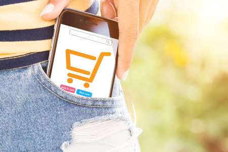 woman shopping cart: phone in bag easily lifestyle concept