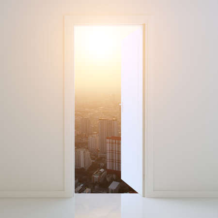 envisage: door open to city at sunset background