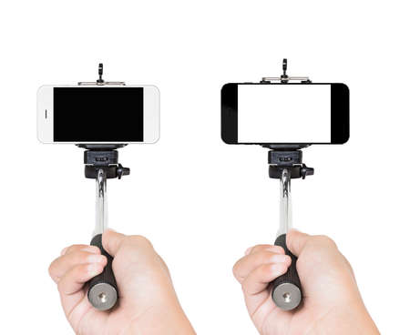 selfy: hand holding selfie stick isolated white Stock Photo