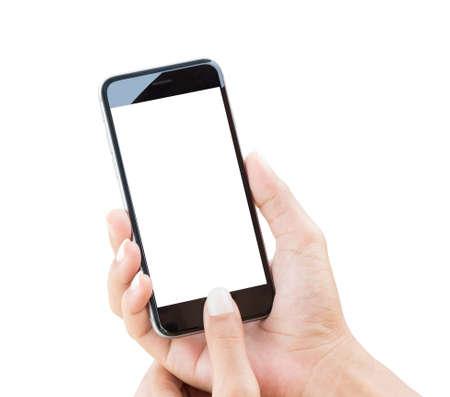 hand houden telefoon geïsoleerd met het knippen van weg