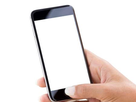 primer plano la mano que usa el teléfono aislado en blanco parche de recortes interior Foto de archivo