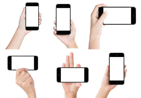 Greep hand zwarte moderne geïsoleerd smart phone voorstelling scherm set Stockfoto - 48557895