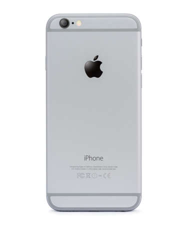 6 12: Bangkok, Thailand - Dec 12, 2015 : iphone 6 back side isolated on white, iphone developed by apple Inc. Editorial