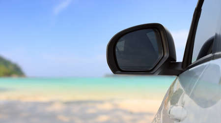 freedom nature: traveling car on bright beach
