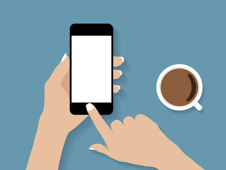 woman on phone: hand holding and touch phone vector design