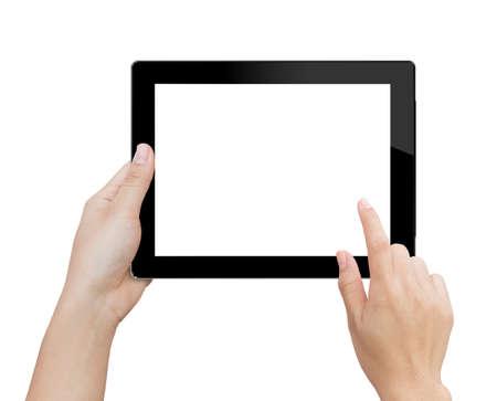 držení: ženská ruka pomocí mock-up digitální tablet izolované ořezové náplast do obrazových dat