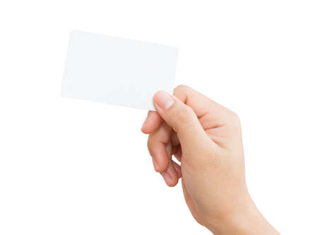 hand with card: female hand holding blank card isolated Stock Photo