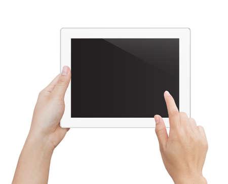 vrouw hand met behulp van digitale tablet geïsoleerd knippen patch binnen beeldgegevens Stockfoto