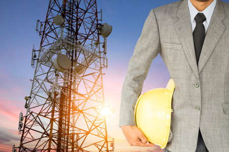 engineering and technology: engineering and satellite dish telecom network at sunset communication technology Stock Photo