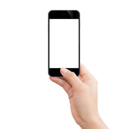 Vrouwelijke hand die zwarte telefoon houdt Stockfoto