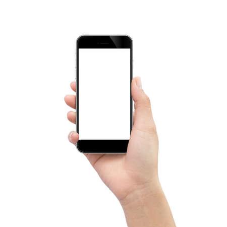 mão que prende o telefone preto isolado no trajeto de grampeamento branco dentro