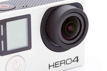 manufactured: Bangkok, Thailand - March 9, 2016 : Closeup Gopro hero 4 black extreme sport camera, lightweight personal camera manufactured by GoPro Inc. Editorial