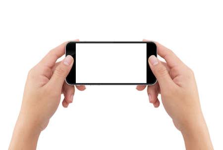 Hand met telefoon leeg scherm geïsoleerd witte achtergrond met uitknippad eenvoudige aanpassing Stockfoto - 54282380