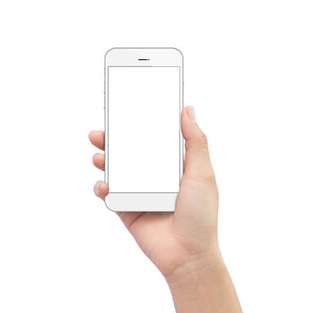 cellphone: hand holding phone isolated on white clipping path inside