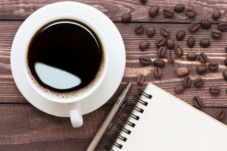 blank note: coffee and note blank on top view