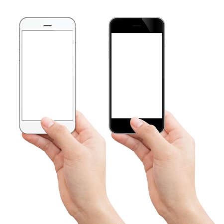vrouw hand met telefoon geïsoleerd uitknippad binnen afbeeldingsgegevens