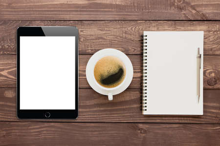 blank tablet: tablet coffee and book blank on wood tablet Stock Photo