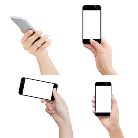 manos: teléfono explotación de la mano aislado con trazado de recorte en el fondo blanco Foto de archivo