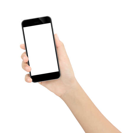 hand holding black phone isolated white
