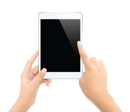 close up hand touching on tablet isolated white Stockfoto