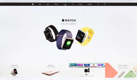 sell online: Bangkok, Thailand - May 24, 2016: Close up Apple Inc. website on imac retina screen showcasing the apple watch new wearable technology device available for sell online