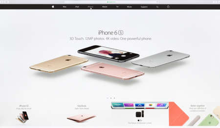 sell online: Bangkok, Thailand - May 24, 2016: Close up Apple Inc. website on imac retina screen showcasing iphone 6s technology device available for sell online Editorial