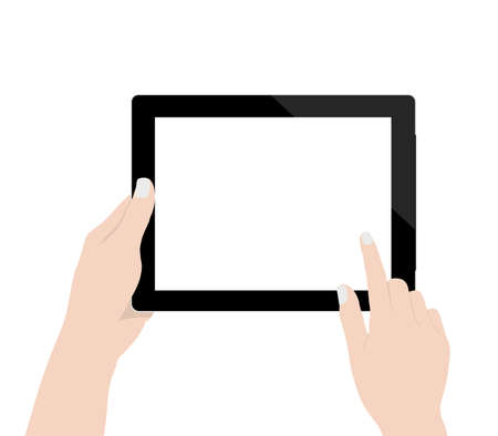 tabletpc: close up woman hand using digital tablet technology blank screen display on white background design