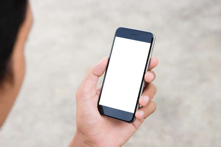 man holding phone white screen