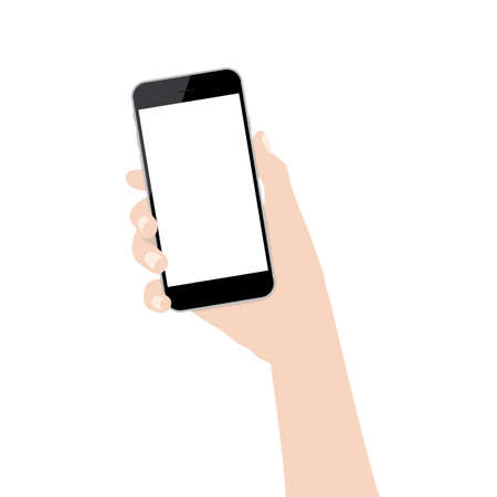 hand phone: hand holding phone isolated on white background design Illustration