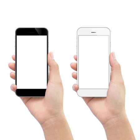 hand met telefoon geïsoleerd op wit uitknippad binnen