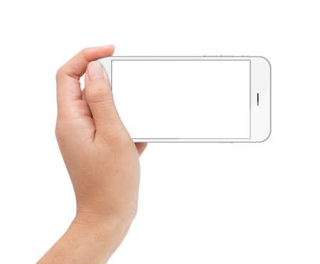 Vrouwelijke hand houden telefoon wit scherm met uitknippad binnen Stockfoto