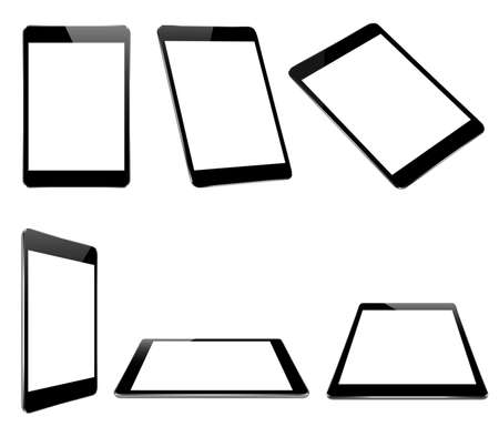 i pad: mock up black tablet isolated on white vector design