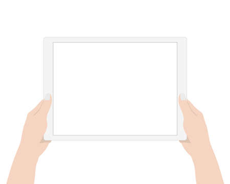 i pad: vector design, close up woman hand using digital tablet technology blank screen display on white background Illustration