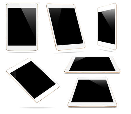 mock-up goud tablet geïsoleerd op wit vector design Stock Illustratie