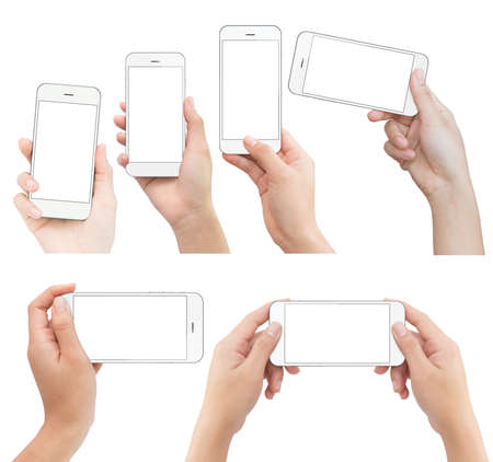 device: hand holding white phone isolated with clipping path on white background