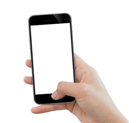 mobiele telefoon van het close-uphandgebruik op witte achtergrond wordt geïsoleerd die Stockfoto
