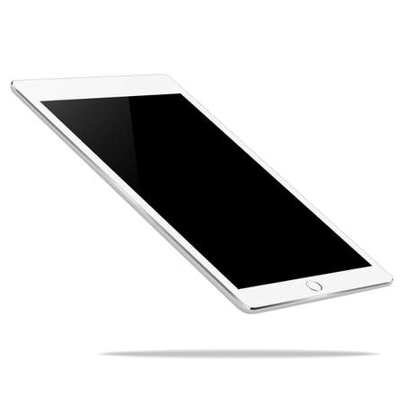 i pad: mock up white tablet perspective view isolated on white vector design