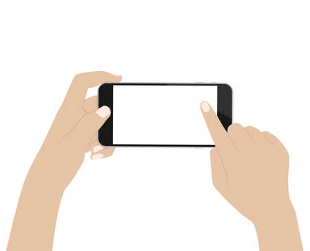 using phone: vector desgin hand using phone on white background Illustration