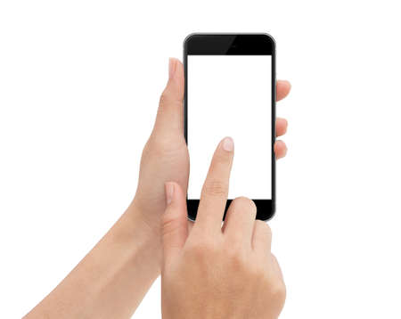 phone isolated: hand touch phone isolated with clipping path on white background