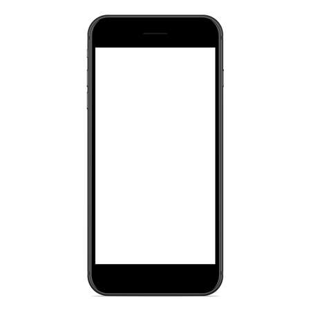 vector drawing mockup phone matte black color on white background
