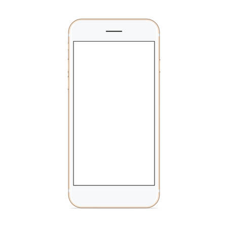 vector mockup phone front view on white background, new phone design gold color Vettoriali