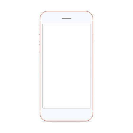 mobile cellular: vector mockup phone front view on white background, new phone design rose gold color