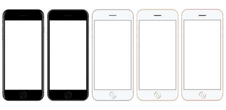 vector mockup phone front view on white background, new phone design color set