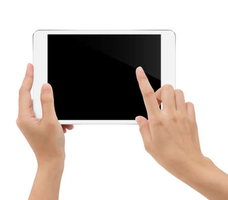 close-up hand holding tablet isolated white background clipping path inside