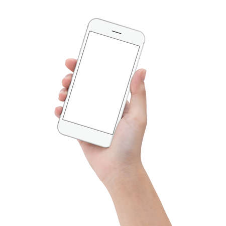 close-up hand hold phone isolated on white, mock up smartphone blank screen easy adjustment with clipping path Stock Photo - 68113298
