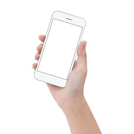 gros plan prise de main téléphone isolé sur blanc, maquette Smartphone écran blanc réglage facile avec chemin de détourage