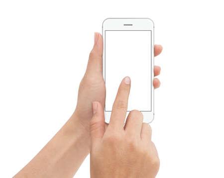 Hand touch telefoon geïsoleerd met uitknippad op witte achtergrond, mock-up telefoon leeg scherm Stockfoto - 68018180