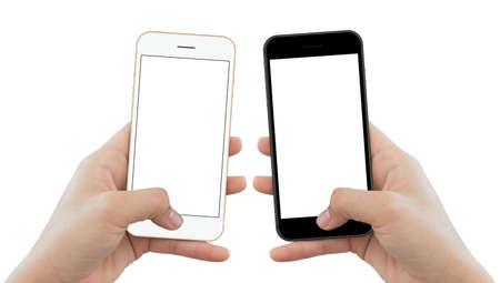 Close-up hand houden telefoon geïsoleerd op witte achtergrond, mock-up telefoon mat zwart en goud kleur wit scherm