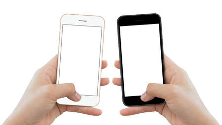 closeup hand hold phone isolated on white background, mock-up phone matte black and gold color white screen